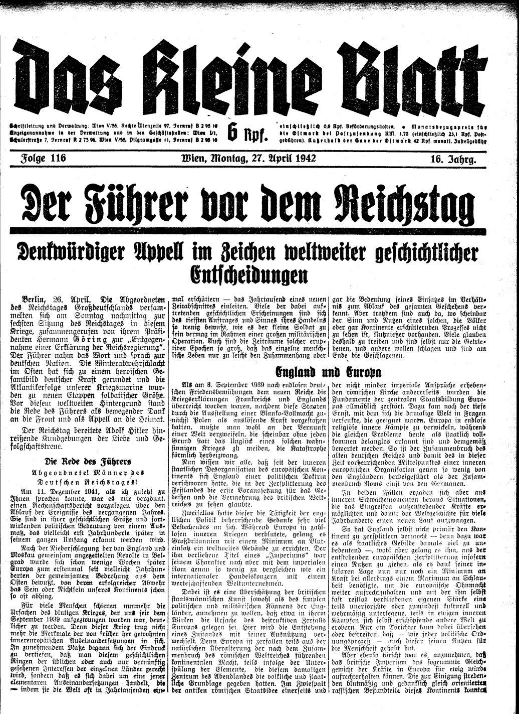 'Die Rede des Führers,' Das Kleine Blatt, 16/116 (27.051942), S. 1